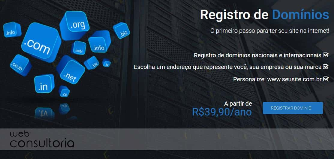 Registro de domínio - Web Resort
